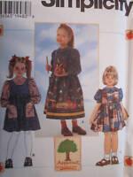7340 UNCUT Simplicity Sewing Pattern Appletree Girls Jumper Blouse School VTG