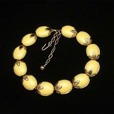 Yellow Necklace Vintage Trifari Leaf Accents Trinidad 1956