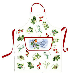 Christmas Garden Cotton Apron by Samuel Lamont