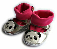 BABY GIRLS SILVER HOT PINK PANDA PARTY SHOES 3-6 MONTHS BNWT