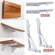 2x White Metal Folding Triangle Angle Shelf Wall Mounted Support Bracket Rack