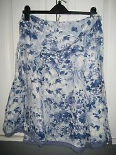 Lovely Blue  Print Linen skirt  size  14   By PER UNA
