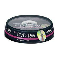 10 TDK DVD-RW 4.7 GB (10 Mandrino) 120 minuti DVD-RW t19426