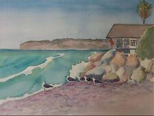 Capo Beach Bird House Original Watercolor Painting RAMfish Artist Southern Cal