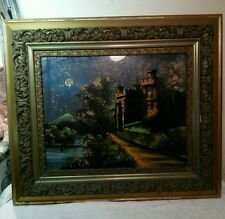 Vtg Ornate Wood Chalk Picture Frame Reverse Painting Glen Cairn Castle Ireland
