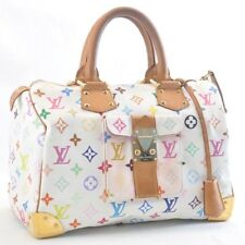 LOUIS VUITTON Monogram Multicolor Speedy 30 White Hand Bag M92643 LV Auth sa539