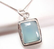 Chalcedony Simple Rectangle Necklace 925 Sterling Silver New 747p