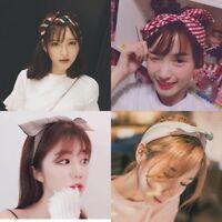 Women Bow Rabbit Bunny Ear Ribbon Hair Band Wire Headband Wrap Hair Accessories