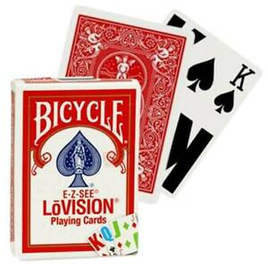 """Bicycle """"E-Z-See LoVISION"""" Playing Cards Sealed New In Box """"RED"""" USA SHIPS FREE"""