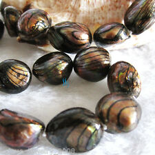 """18"""" 11-13mm Dark Brown With Black Wave Freshwater Mother Of Pearl Necklace"""
