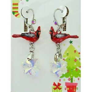 Kirks Folly Snowflake Cardinal Bird Leverback Earrings Silvertone Hand Enameled
