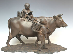 Japanese Vintage Bronze Large Sculpture A Bull and Kids