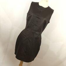 Plein Sud 10 Dress Brown Leather Sheath Lined Full Zip Up Zipper Sleeveless R8P