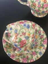Vintage Royal Winton Chintz Kew Teacup Saucer 1950's Gold Trim Grimwades