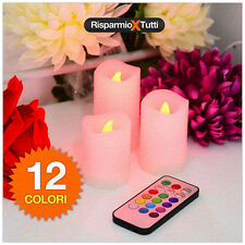 3 CANDELE A LED CON TELECOMANDO SET CANDELE COLORATE CANDELA LUCE LED 12 COLORI