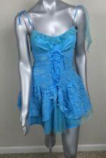 Leg Avenue Woman Dress Costume Spaghetti Straps Ripped Mesh Blue Sz S
