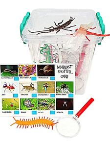 Bug Hunting Kit Includes Bug House,Plastic Bugs,Magnifying Glass, Spotter Cards