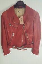 BNWT MIU MIU Giacca da motociclista in pelle rossa. UK 8/40. £ 1950