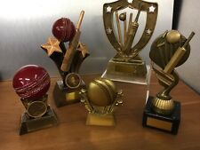Personalised Pack of 5 Cricket Trophies, Bowling,Batting,Fielding engraved free,