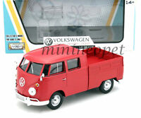MOTORMAX 79343 VW VOLKSWAGEN TYPE 2 T1 DOUBLE CAB PICK UP TRUCK 1/24 DIECAST RED