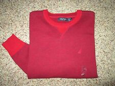 Mens NAUTICA Red Long Sleeve Sweater Shirt Size S Small NEW