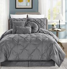 Chezmoi Collection 7pc Sydney Pinch Pintuck Pleated Comforter Set Queen, Gray