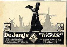 De Jong`s holländischer Cacao Wormerveer- Holland Historische Annonce 1914