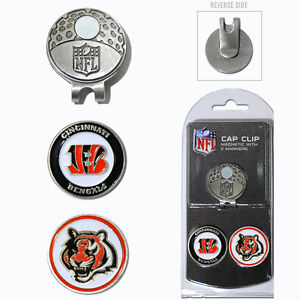 Cincinnati Bengals NFL Team Golf Cap Clip with 2 Magnetic Enamel Ball Markers