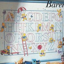 Stickvorlage * Alphabet mit Teddybären * Bild für Kinder Kreuzstich DMC Vervaco