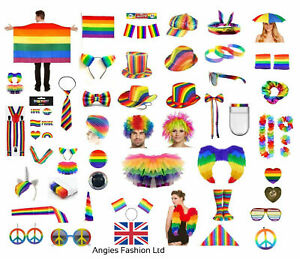 GAY PRIDE RAINBOW HATS FLAG PAINT JEWELLERY LGBT PARADE COLOUR FANCY DRESS PARTY