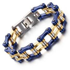 Blue + Gold Jewelry 95g Motorcycle Chain Stainless Steel Biker Bracelet 8.66''