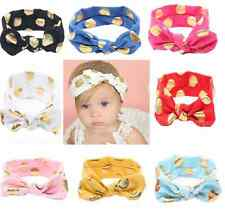 8 PC LOT Baby Toddler Girls Fashion Knotted Bow Wrap Headband Gold Polka Dot