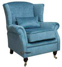 Ashley Fireside High Back Wing Armchair Pimlico Teal Blue Fabric