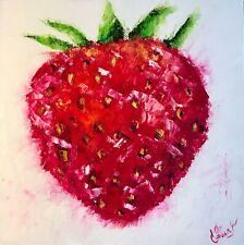 STRAWBERRY, oil painting on canvas, original, Pop Art, Still Life, Kitchen Art