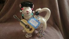 WhimsiClay Cats The Idol with box - Elvis cat with guitar ornament figurine
