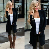 Women's Sweater Long Sleeve Casual Cardigan Autumn Solid Jumper Coat Jacket