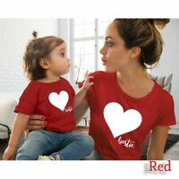 Mother and Daughter T-shirt Heart Printed Tops Matching Family Look Tee Tops
