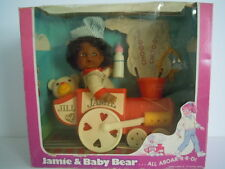 RARE AFRICAN AMERICAN DOLL ! VINTAGE LOVEE DOLL JAMIE & BABY BEAR PULL TRAIN TOY