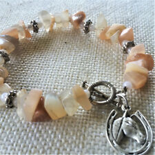 Agate Braclet with Horse Charm Elastic with free gift bag