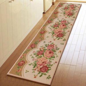 Vintage Flower Door Mats Non Slip Kitchen Floor Rug Carpet Hallway Runner 175cm