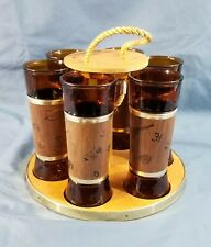 Mid Century Siesta Ware Wood Tumbler Caddy & 6 Western Cooler Wrapped Tumblers