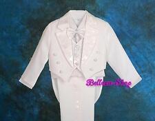 5pc Set Boys White Formal Tuxedo TUX Suit Vest Wedding Dinner Party Size 4 ST011