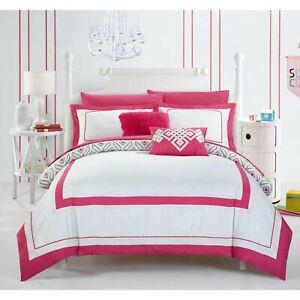 Twin Full Fuchsia Pink White Geometric Hotel Diamond 9 pc Comforter Set Bedding