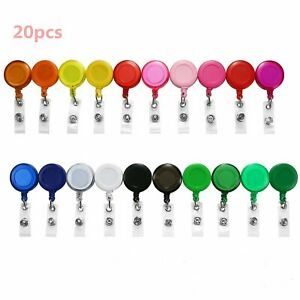 20pcs Round Retractable Badge Holder ID Reels Belts Clip On Name Card Key Holder