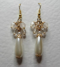 LONG IVORY WHITE PEARL & CLEAR acrylic CRYSTAL GOLD PLATED DROP EARRINGS hook PC