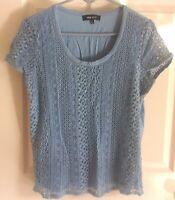 Womens NINE WEST~BLUE LACE BLOUSE~size XL~NEW~Dress Shirt Knit Top EYELET $44