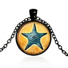 Vintage Sea Star jewelry Cabochon Black Glass Chain Pendant Necklace