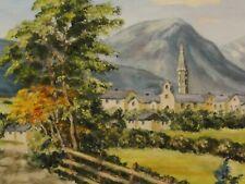 Grete Ahrens (XX) -TOP- Alpen-Gemälde 1995: ALTER WEG ZUR STADT VOR DEN BERGEN