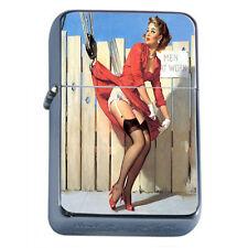 Windproof Refillable Fliptop Oil Lighter Classic Vintage Model Pin Up Girl D-104