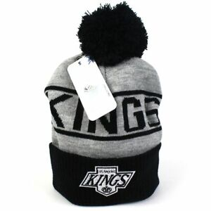 LA Kings Beanie - Black Grey NHL Wordmark Bobble - Majestic Athletic